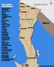 Map of Northern Baja Surfbreaks