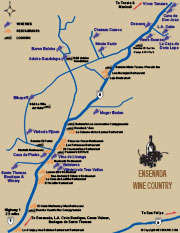 Ensenada Wine Map and Restaurants