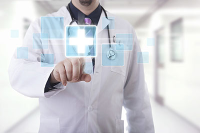 image of doctor in front of screen