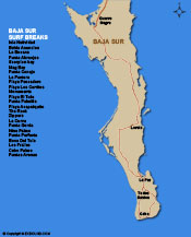 Map of Baja Sur Surf Breaks