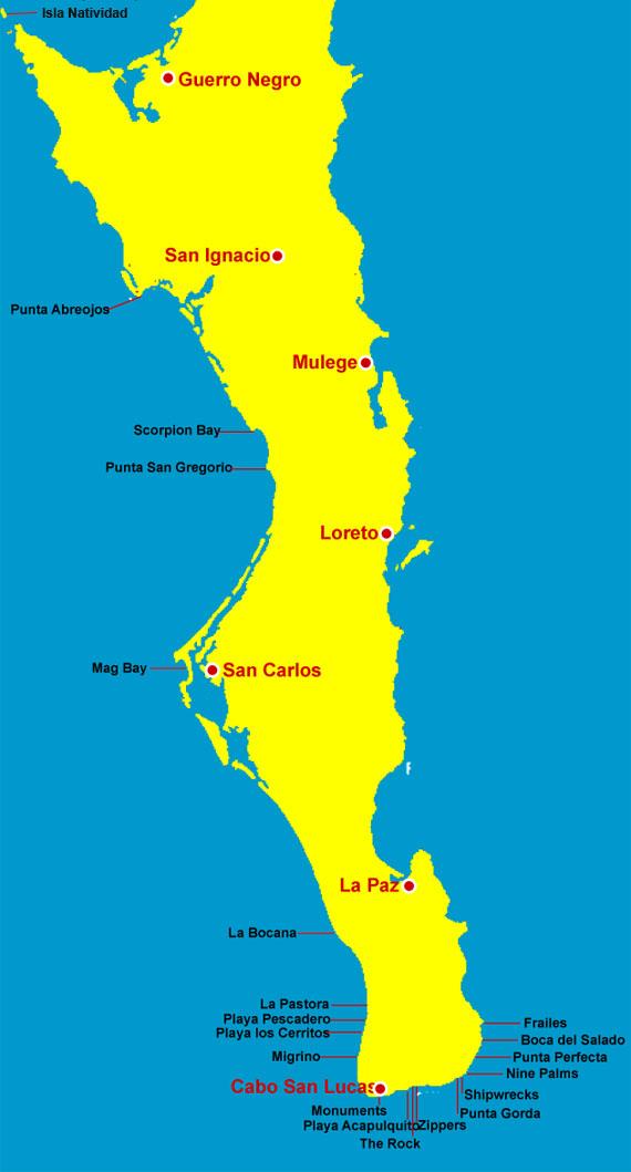 Baja Surfing Map