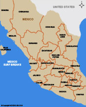 Surfing in Mexico Map