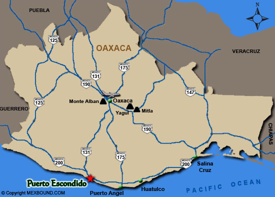 Puerto Escondido Map and Driving Directions Puerto Escondido
